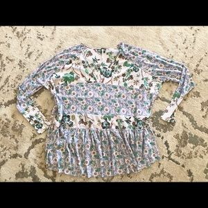 Free people S Euc flowy floral top blouse shirt